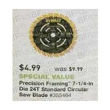 DEWALT Precision Trim 7-1/4-in. 24-Tooth Standard Carbide Circular Saw Blade