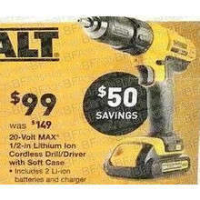 DeWalt 20V MAX 1/2-in. Lithium, Ion Cordless Drill/Driver w/ Soft Case
