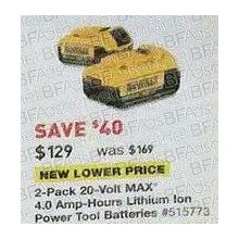 DEWALT 2-pk. 20V 4.0-Amp Hours Lithium Power Tool Battery