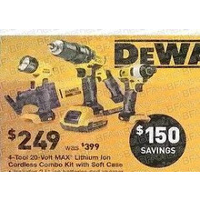 DeWalt 4-Tool 20V MAX Lithium Ion Cordless Combo Kit w/ Soft Case