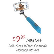 Selfie Shoot n Share Extendable Monopod w/ Wire
