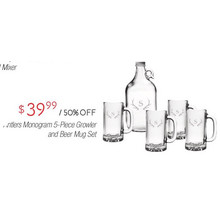Antlers Monogram 5-pc. Growler & Beer Mug Set