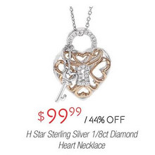 H Star Sterling Silver 1/8-cttw. Diamond Heart Necklace