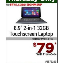 "Touchscreen 8.9"" 2-In-1 laptop w/ 32GB HDD"