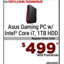 Asus Gaming Desktop PC w/ Intel Core i7 and 1TB HDD