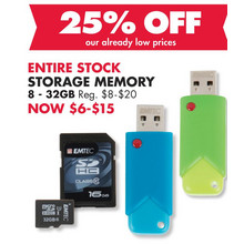 Storage Memory (Assorted Sizes) 25% Off
