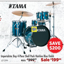 Tama Imperialstar Bop 4-Piece Shell Pack Hairline Blue Finish