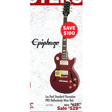 Epiphone Les Paul Standard Florentine PRO Hollowbody Electric Guitar Wine Red