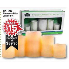 Flameless Pillar LED Candle Set 5-pc.