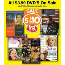 DVDs 5 For $10 (Assorted)