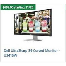 "Dell Ultrasharp 34"" Curved Monitor U3415W"