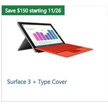 Surface 3 + Type Cover Save $150