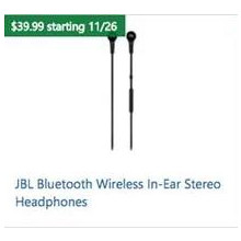 JBL Bluetooth Wireless In-Ear Stereo Headphones