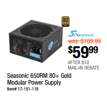 Seasonic 650RM 80+ Gold Modular Power Supply