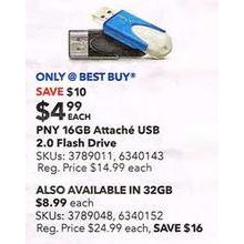 PNY - Attach 4 16GB USB 2.0 Flash Drive - Blue/White
