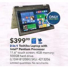 "Toshiba - Satellite Radius 11.6"" Touch-Screen Laptop - Intel Pentium - 4GB Memory - 500GB Hard Drive - Satin Gold"