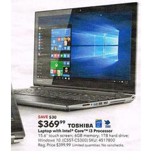 "Toshiba - Satellite 15.6"" Touch-Screen Laptop - Intel Core i3 - 6GB Memory - 1TB Hard Drive - Brushed Black"