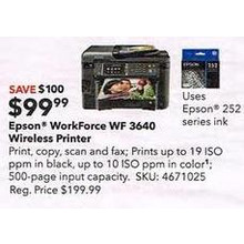 Epson WorkForce WF-3640 Wireless All-In-One Printer