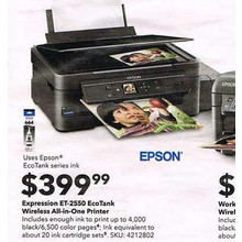 Epson Expression ET-2550 EcoTank Wireless All-In-One Printer