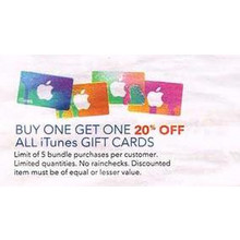 iTunes Gift Cards BOGO 20% OFF