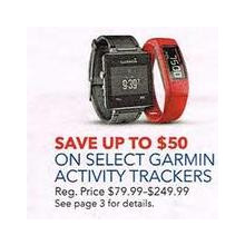 Garmin Activity Trackers (Select) $50.00 OFF