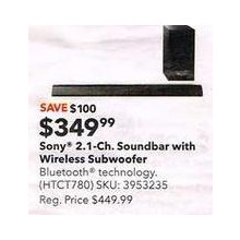 Sony 2.1-Channel Soundbar w/ Wireless Subwoofer