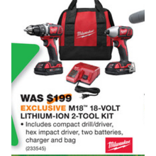 Milwaukee M18 18V Lithium-Ion 2-Tool Kit