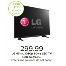 "LG 43"" 1080p 60Hz LED TV + Earn $75 Kohl's Cash"