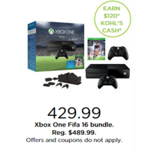 Xbox One 16 Bundle + Earn $120 Kohl's Cash