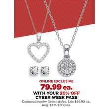 Diamond Jewelry (Select Styles) with 20% Off Code DEALSEEKER