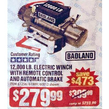 Badland 12000-lb. Off-Road Vehicle Electric Winch w/ Automatic Load-Holding Brake