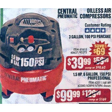Central Pneumatic 1.5, 6-gal, 150PSI Oilless Air Compressor