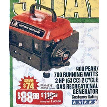 Storm Cats 900 Peak/700 Running Watts 2HP (63cc) 2 Cycle Gas Generator EPA/CARB