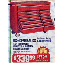 US General Pro 44-in. 13-Drawer Industrial Roller Cabinet