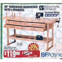 Windsor Design 60-in. 4-Drawer Hardwood Workbench