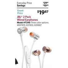 JBL Earphones w/ Tangle Free Flat Cord & In-Line 1-Button Remote (2-pk.)