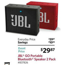 JBL GO Bluetooth Speaker 2-pk. Built-in Speakerphone w/ 5-hours Rechargeable Battery (Blue)