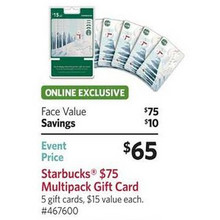 Starbucks $15 Gift Cards (5-Pack)