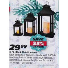 Black Metal Lanterns (3-pk.)