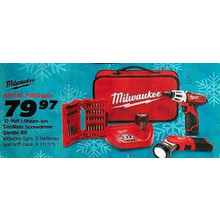 Milwaukee M12 Cordless 12V Lithium-Ion 2-Tool Combo Kit w/ Bit Set