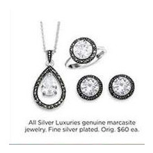 Silver Luxuries Genuine Marcasite Fine Silver Plated Jewelry
