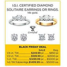 I.g.i. Certified Diamond Solitaire 14K Gold 1-cttw. 3 Stone Rings