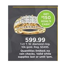 10K Gold 1-cttw. Diamond Ring