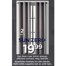 Sun Zero 84-in. Energy Efficient Curtains (2-pk.)