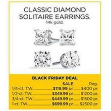 Classic Diamond Solitaire 14K Gold 3/4-cttw. Earrings