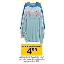 Sonoma Goods For Life Womens Everyday Long-Sleeved Tees