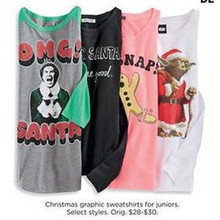 50% OFF Christmas Juniors Graphic Sweatshirts (Assorted Styles)
