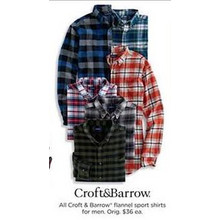 Craft & Barrow Mens Flannel Sport Shirts (Assorted Colors)