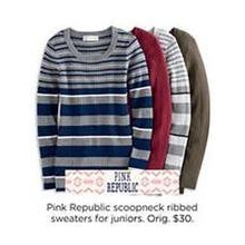 50% OFF Pink Republic Juniors Scoopneck Ribbed Sweaters (Assorted Styles)