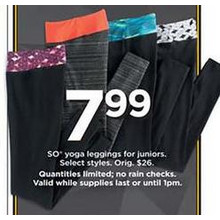 SO Yoga Juniors Leggings (Assorted Colors)